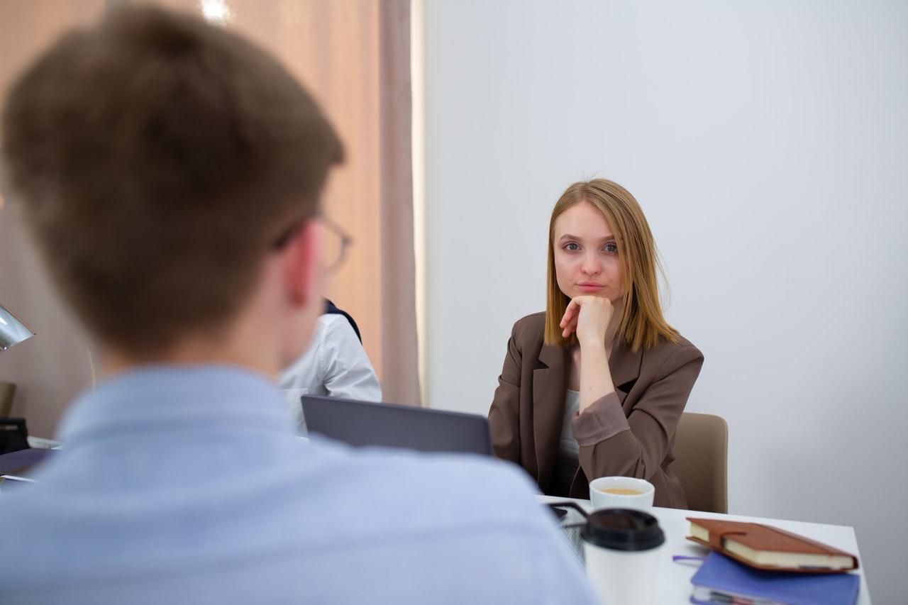 bookkeeper woman attending a business meeting